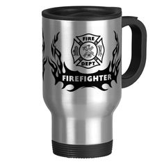 Firefighter Tattoo Graphic Travel Mug