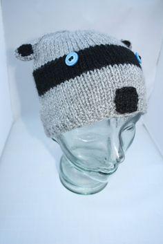 Knitted Beanie hat Raccoon beanie hat Adult by sweetygreetings, £8.50