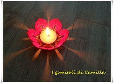 Fiore porta-tealight natalizio all'uncinetto