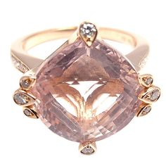 """18k Rose Gold Diamond & Pink Quartz """"Inde Mysterieuse"""" Ring by Cartier. A collection from Cartier's 1001 nights."""