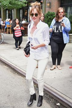The colour of innocence: The star showed off her stylish side instead of her sexy one in the morning in New York wearing a white ensebmle