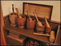 Old wooden mortar and pestles