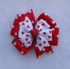 READY to SHIP Red Valentine's Day Hair Bow by LizzyBugsBowtique