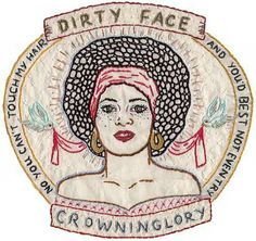 Crowninglory, 2003, hand embroidery on cotton panel, 17 x 18 inches