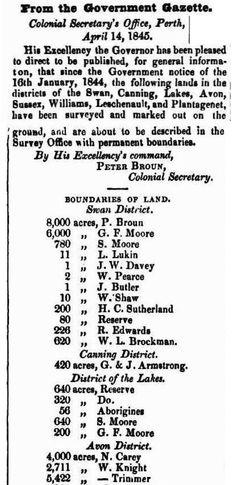Western Australia Boundaries of Land Recording Land Holders 14 April 1845 Western Australia, Family History, Landing, Sheet Music, Free, Music Sheets