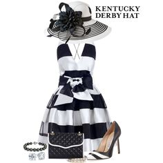 A fashion look from April 2014 featuring Manolo Blahnik pumps, Rebecca Minkoff shoulder bags y Blue Nile bracelets. Browse and shop related looks. Kentucky Derby Outfit, Kentucky Derby Fashion, Derby Attire, Tea Party Attire, Tea Party Outfits, Race Day Outfits, Derby Outfits, Derby Dress, Classy Outfits
