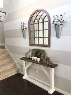 Modern Farmhouse Entry Way (SOURCE: lightsabersandlollipops) Natural Wood Mirror, Cotton Stem, Stripes, Farmhouse, Hobby Lobby, Hello, Tobacco Basket