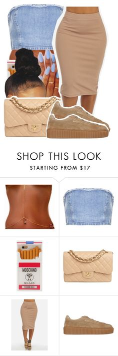 """""""1306"""" by ashley-mundoe ❤ liked on Polyvore featuring Topshop, Moschino, Chanel and Puma"""