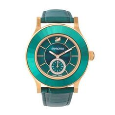 #SWAROVSKI Octea Classica Emerald Rose Gold Tone Watch - Showing a breathtaking combination of emerald green and rose gold tones, this classic yet fashionable watch is a real statement piece.  #swarovskicrystals #womensfashion #green #rosegold #watches