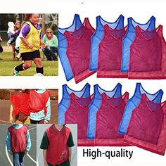 Adorox Youth Scrimmage Team Practice Nylon Mesh Jerseys Vests Pinnies for Children Sports Football Basketball Soccer Volleyball  Red and Blue 12 pack * You can get more details by clicking on the image.Note:It is affiliate link to Amazon. #FootballPassion