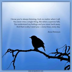 God hears us, sparrow, God's always listening. http://annepeterson.wordpress.com/
