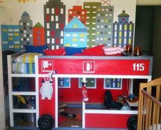 Ikea's Kura Loft Bed turned into a firetruck bed. Apartment Therapy 51bcdfffdbd0cb1eb4001560._w.540_s.fit_