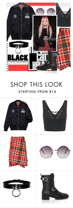 """""""Fernanda Ly Inspired Black Choker Outfit"""" by maranella ❤ liked on Polyvore featuring Miss Selfridge, Vivienne Westwood Red Label, Monki, Alexander Wang and blackchokers"""