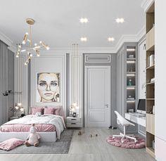 Luxury Kids Bedroom, Room Design Bedroom, Girl Bedroom Designs, Room Ideas Bedroom, Home Room Design, Modern Bedroom, Bedroom Decor, Small Room Design, Aesthetic Bedroom
