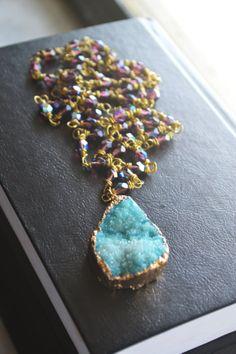 Turquoise Blue  Quartz Druzy Rosary Necklace by MarcieRoxx on Etsy, $65.00
