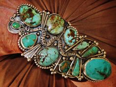"""NATIVE+AMERICAN+TURQUOISE+LEATHER+BRACELET+122g+Sterling+Silver+CHAVEZ,5.2""""+wide+#CHAVEZNAVAJO"""