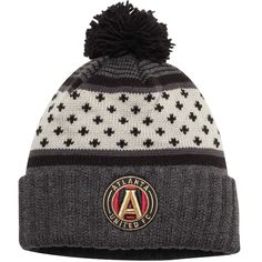 sale retailer 74cf4 14dca Men s Atlanta United FC Mitchell  amp  Ness Black Team Cuffed Knit Hat With  Pom,