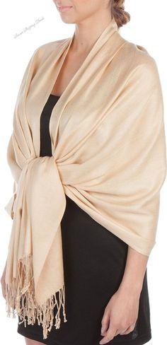 Silky Solid Soft Pashmina Shawl Wrap Stole Women Shawls 28 x 78 Inces Beige  #Sakkas