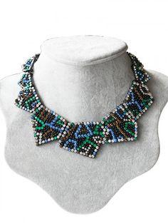Colorful Rhinestone Triangle Collar Necklace