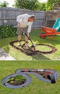 Garden racetrack for kids // backyard ideas for children