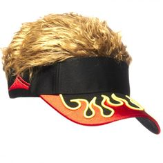 Flair Hair Mens Velcro Hat Cap Visor (Black w  Blonde Hair 01c6e2ff30d