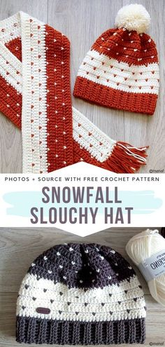 Snowfall Slouchy Hat Free Crochet Pattern - Free Crochet Patterns - Knit & Crochet Accessories (Hats, Scarves, Bags and More) Crochet Pattern Free, Sewing Patterns Free, Knitting Patterns, Crochet Patterns, Crochet Ideas, Crochet Beanie Pattern, Crochet Slouchy Hat, Knitted Hats, Knit Crochet