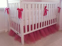 DIY crib skirts - fuchsia tulle... if I would ever have another baby!!