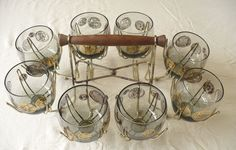 8 Vintage Roly Poly Smoky Glasses in Brass Wire Caddy Gold Coin Federal Glass  | eBay