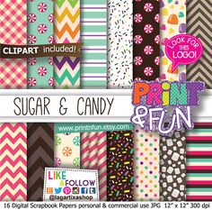 Candyland, Digital Paper Patterns Backgrounds Scrapbooking