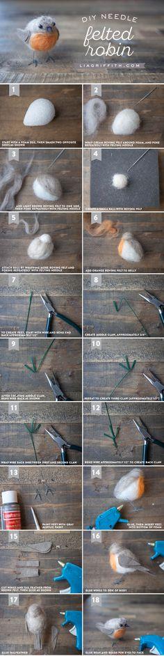 DIY Needle Felted Robin
