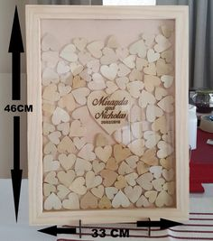 Big Wedding Guest Book Drop Box Frame, rustic look - 100 Wooden Hearts - The centre heart is personalized and engraved beautifully. The frame is