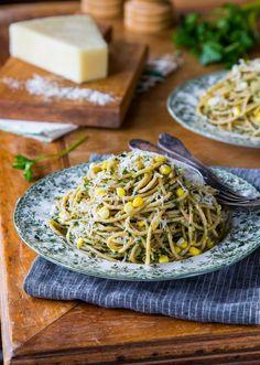 Recipe: Spaghetti with Corn & Parsley Pesto