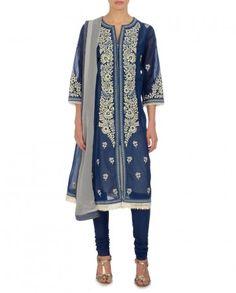 Navy Suit with Floral Motifs - Ritu Kumar - Designers