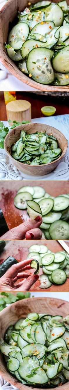 Cilantro-Lime Cucumber Salad. A light cucumber salad with some crushed red pepper for a bit of kick, this dish is great as a side, a light lunch, or even as a base for a yummy veggie sandwich                                                                                                                                                      More