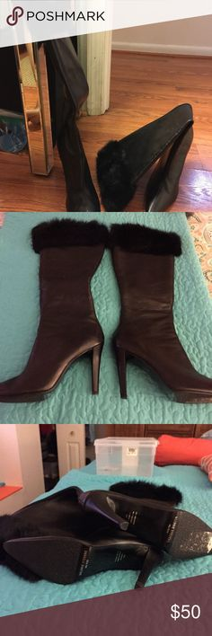 Valerie Stevens boots Valerie Stevens boots with fur around the top.  NWOT ....never worn. Valerie Stevens Shoes Heeled Boots