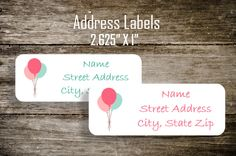 Balloon Return Address Labels stickers by 4ColorPrintsandMore on Etsy