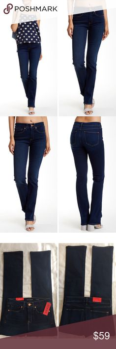 """SPANX 5 POCKET SLIM BOOT LEG JEANS SHAPING DENIM SPANX 5 Pocket Slim Booot Wash: Kirby Retail price: $148 Condition: new with tags Style number: FD0215  Details:  SPANX your favorite jeans with hidden shaping!! Super slimming jeans in a beautiful dark wash. Five pocket styling with a ZIP fly.  Size 27: waist flat 14"""", front rise 9.5"""", hips flat at the base of crotch on jeans 19"""", inseam 32.5"""", leg opening total 16"""" SPANX Jeans Boot Cut"""