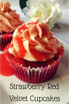 Delicious Strawberry Red Velvet Cupcakes perfect for your loved one this Valentine's Day.