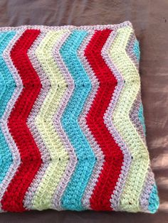 """Chevron Crochet Baby Boy Baby Girl Blanket Dr. Seuss Green Grey Red Turquoise - """"Jonah"""" MADE TO ORDER"""