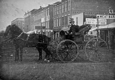 Daguerreotype of carriage on Calhoun Street, Fort Wayne, Indiana [image owned by the Indiana Historical Society] Fort Wayne Indiana, Horse And Buggy, Old Fort, Daguerreotype, Yesterday And Today, Historical Society, Old Pictures, Alter, Vintage Photos