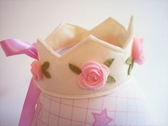 Felt Crown in ivory with pink roses, princess, birthday. 20.00, via Etsy.