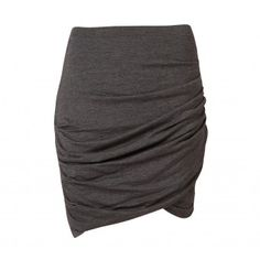 This easy pull-on skirt is both super flattering and comfortable. Features soft elastic waistband, ruching detail at the side seams and a cross-over hemline at the front.