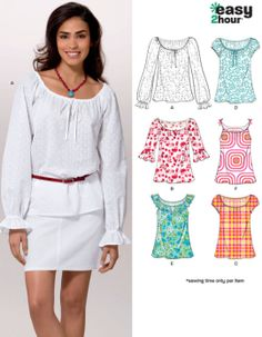 Misses PEASANT TOP Sewing Pattern - EASY 2 Hour Tops - Sizes 6-16