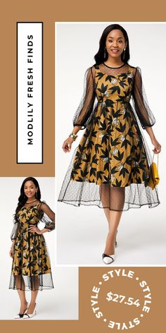 Three Quarter Sleeve Round Neck Mesh Dress - Women's style: Patterns of sustainability Best African Dresses, African Fashion Ankara, Latest African Fashion Dresses, African Attire, Ankara Dress Styles, Ankara Gowns, Classy Dress, Mode Style, Lady