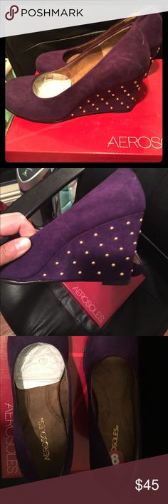 Purple aerosoles wedges Purple suede wedges with gold studs on wedge ! Brand new in box never worn! AEROSOLES Shoes Wedges