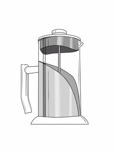 Beautiful hand-drawing of the ANGELICA French Press.