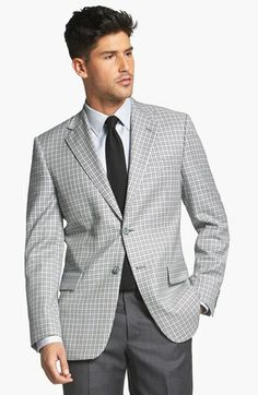 Joseph Abboud 'Signature Silver' Check Wool & Silk Sportcoat available at #Nordstrom
