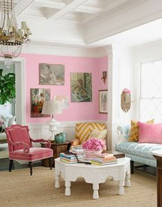 I just love the mix of fabrics in this room, and the way that the pink walls make them all pop! I'm pretty sure that this was originally in my fav House Beautiful issue EVER (it was all on pink stuff)!