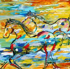 Equine Horse painting modern impressionism impasto fine art on canvas by Karen Tarlton