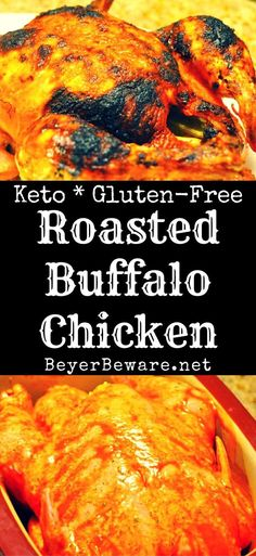 A deliciously spicy whole roasted buffalo chicken that tastes just like buffalo chicken wings thanks to being cooked in butter and buffalo wing sauce. #KetoRecipe #KetoDiet #ChickenRecipe #BuffaloChicken